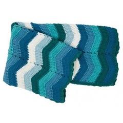 Sebra Sebra  deken met zigzag streep blauw