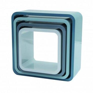 Sebra Sebra boekenkastjes vierkant pastel blauw