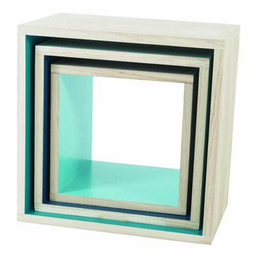 Sebra Sebra paulownia boekenkastjes Turquoise/Blauw