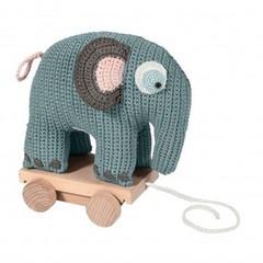 Sebra Sebra gehaakte olifant op wielen pastel blauw