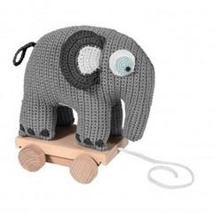 Sebra Sebra gehaakte olifant op wielen Grijs