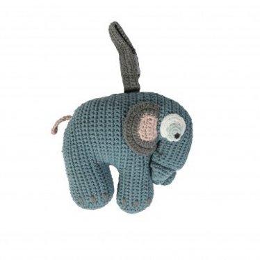 Sebra Schattige Gehaakte muziekmobiel olifant van Sebra in blauw