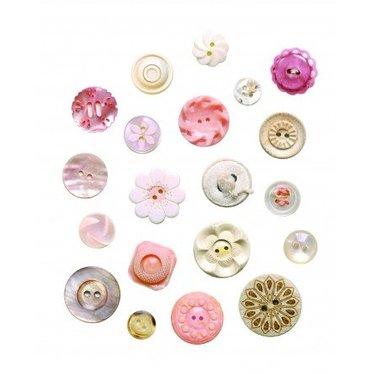 Studio Ditte Leuke Muursticker button van Studio DItte in de kleur Roze