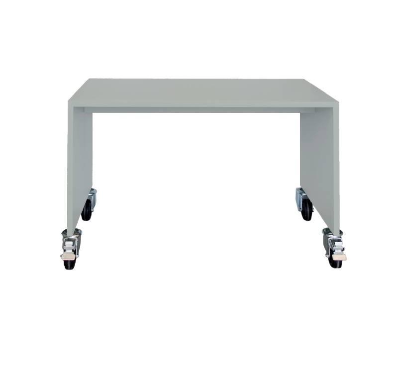 Super leuk en handig bureau op wieltjes van bedhuisje in lichtgrijs.