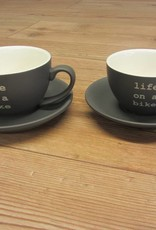 Life on a Bike 280ml Cappuccino Cup and Saucer