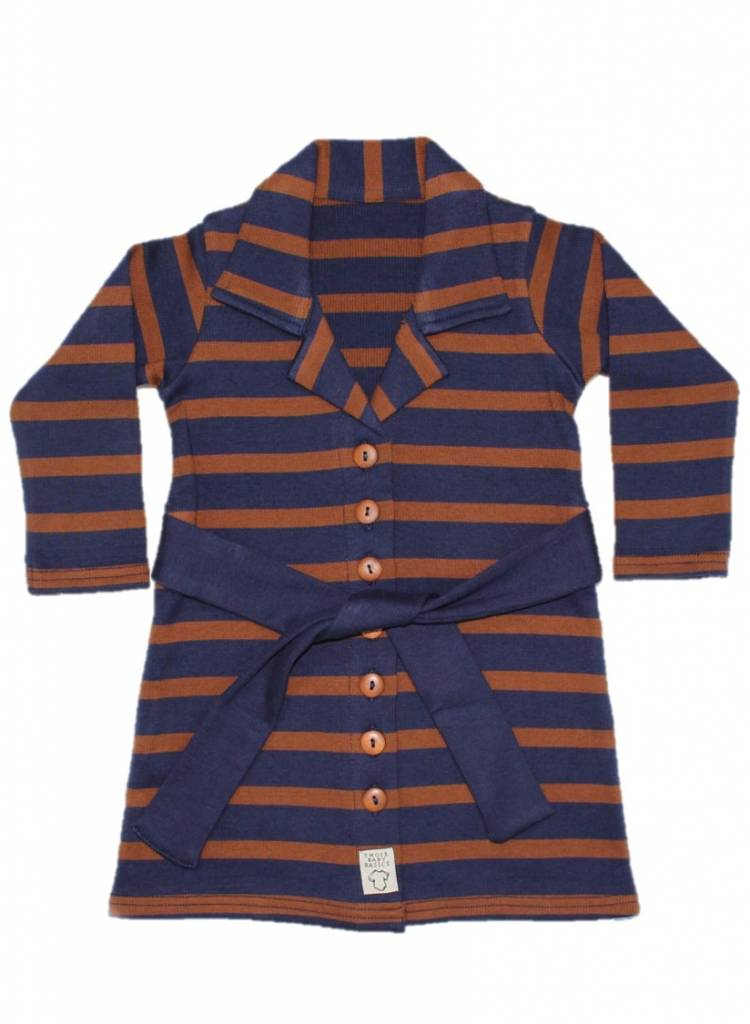 Buttoned Dress Toffee Stripe