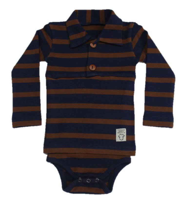 Polo Onesie Long Sleeve Toffee Stripe