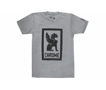 Chrome Industries Large Lock Up Tee Heather Grey/Navy Graphic