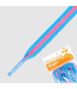 Mr. lacy Stripies Mellow Blue / Neon Pink