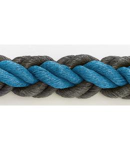 Hockeytouw Blauw/zwart 8mm ( prijs inkl btw)