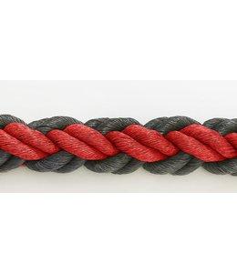 Hockeytouw Rood/zwart 8mm ( prijs inkl btw)