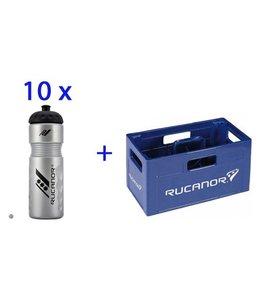 Rucanor Bidon Zahnstange mit 10 Wasserflaschen
