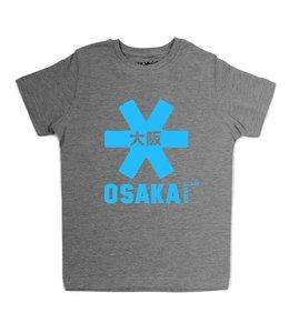 Osaka Deshi Tee Grau Melange Blau Logo