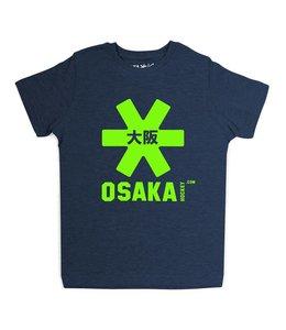 Osaka Deshi Tee Navy Melange Groen Logo