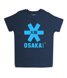 Osaka Deshi Tee Navy Melange Blauw Logo