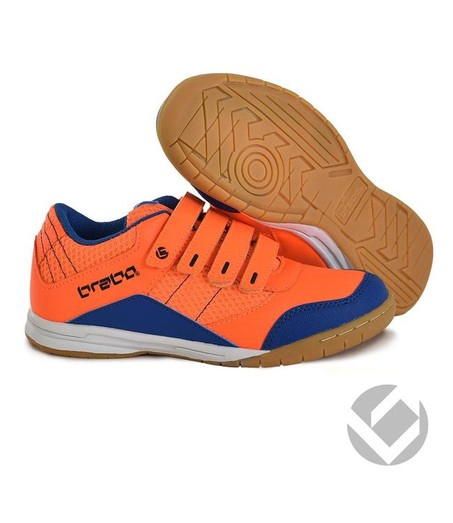 Brabo Indoor velcro shoe Neon Orange/Blue