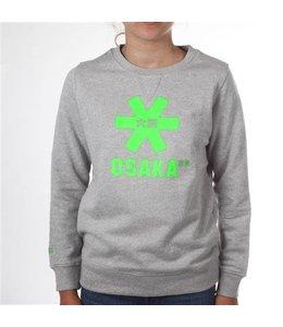 Osaka Deshi Sweater Kids Grijs Melange - Groen Logo