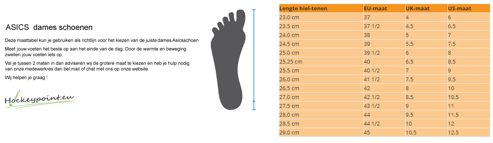 size chart ladies asics shoes @ Hockeypoint
