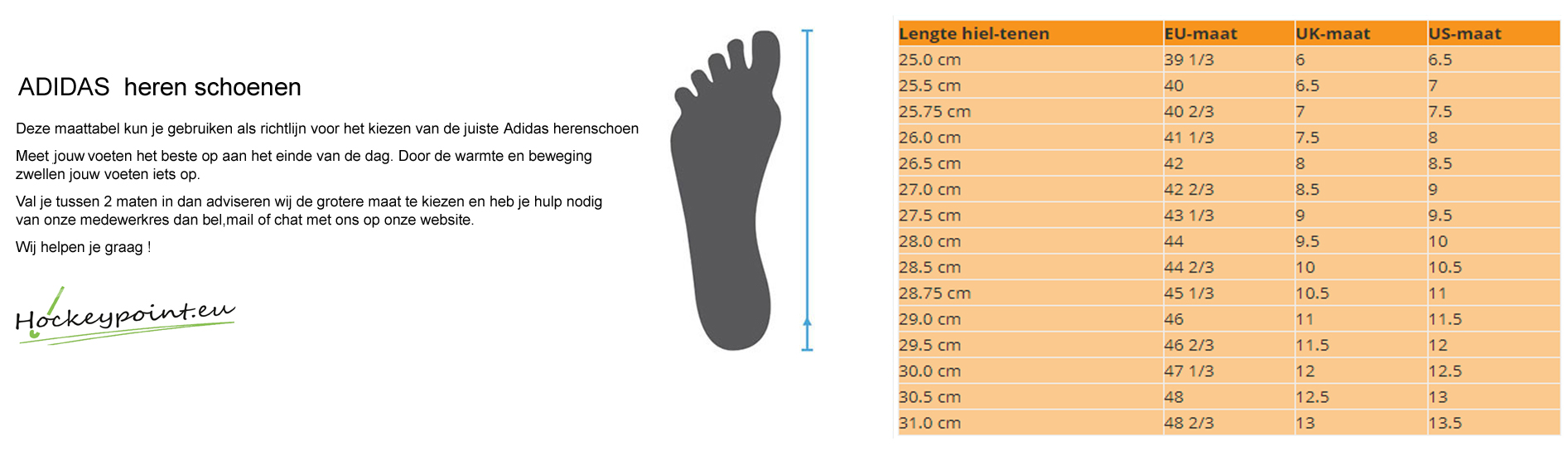 Size tables shoes / clothing / protection - Hockeypoint