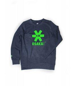 Osaka Deshi Sweater Kids Navy Melange-Grün Logo