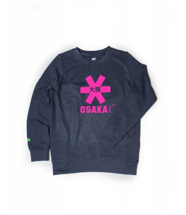 Osaka Deshi Sweater Kids Navy Melange-Roze Logo