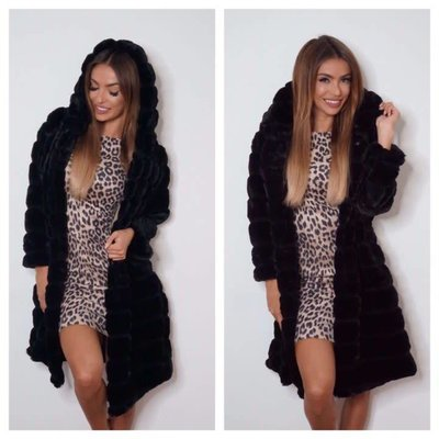 Jaimy Blogger fake fur hoodie Black