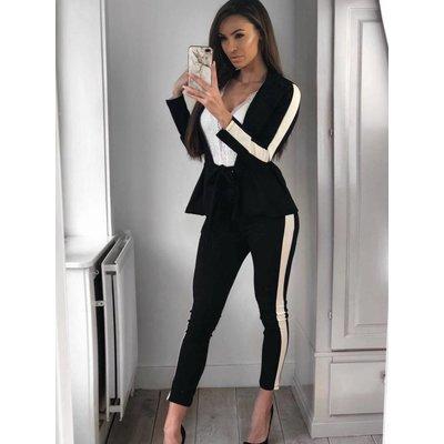 Jaimy Stripe bow suite black white
