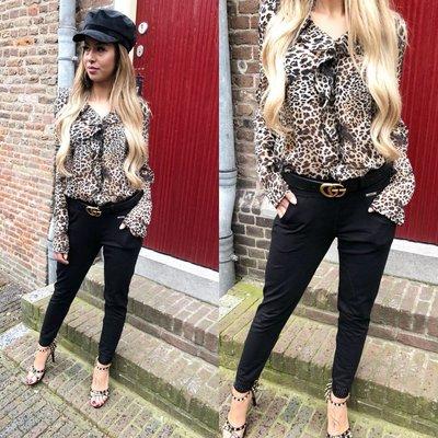 Jaimy Ruffle Leopard blouse