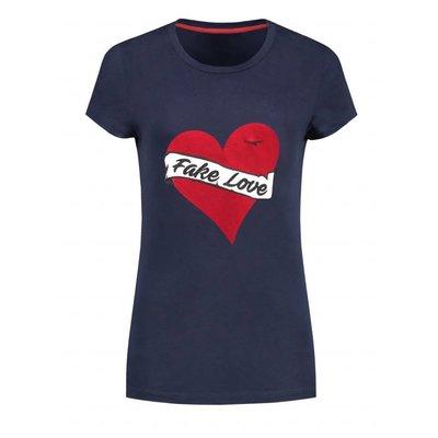 NIKKIE Fake love T-shirt navy