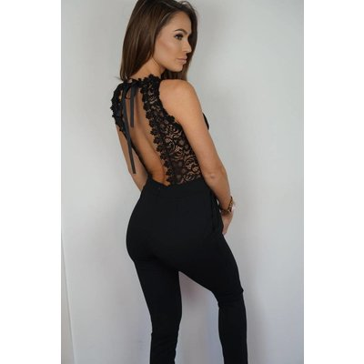Jaimy Open lace jumpsuit black