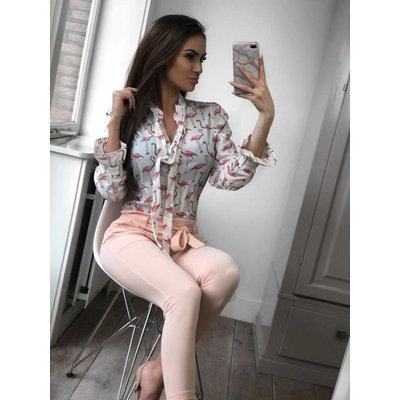 Jaimy Flamingo bow blouse white