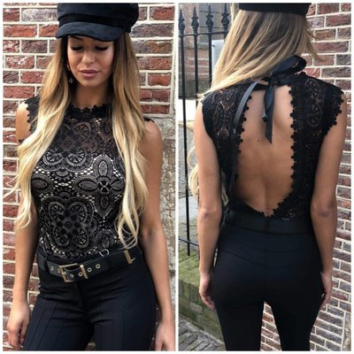 Jaimy Xclusive open lace body black nude