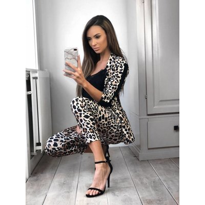 Jaimy Leopard suit black stripe