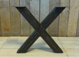 Metalen tafel poot X - rustiek zwart (per set)