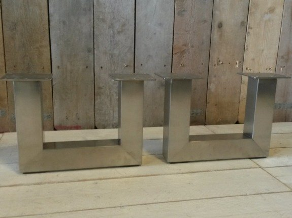 Metalen poot U salontafel - RVS (per set)