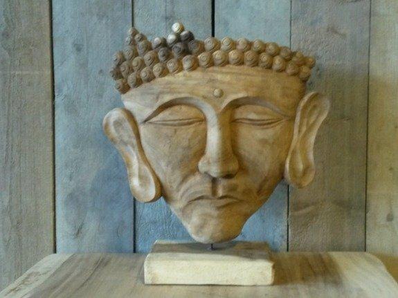 Houten Boeddha gezicht