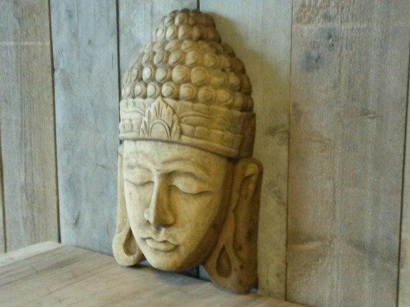 Houten boeddha wandpaneel