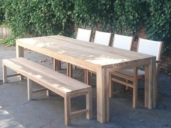 Teakhouten tafel buiten marktplaats ronde houten tuintafel