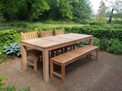 Teak tuinset tafel 215 + bank + stoelen + kussens