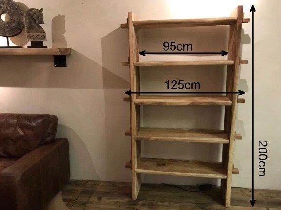 Boomstam boekenkast 125x200x40cm