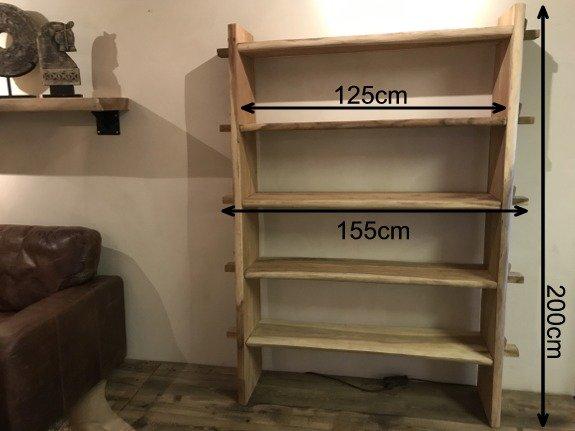 Boomstam boekenkast 155x200x40cm