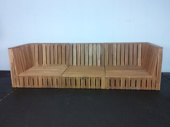 Loungeset teakhout Capri 3-modules met tafel