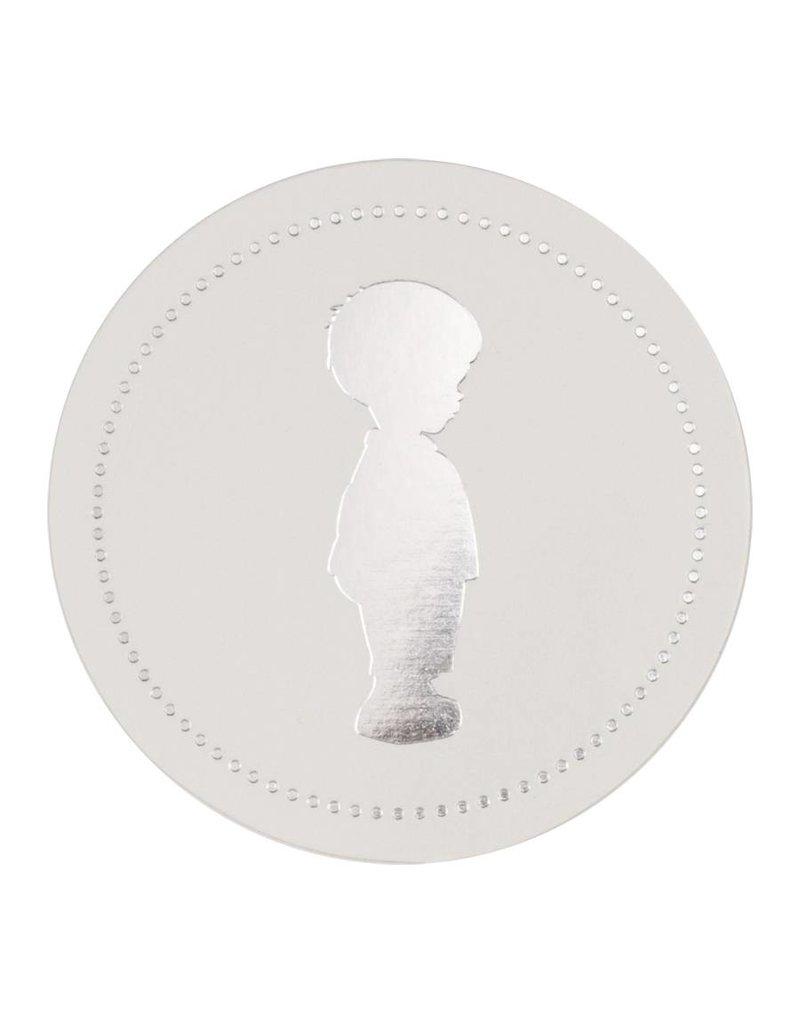 Buromac Sluitzegels jongetje zilver per vel van 10 stuks