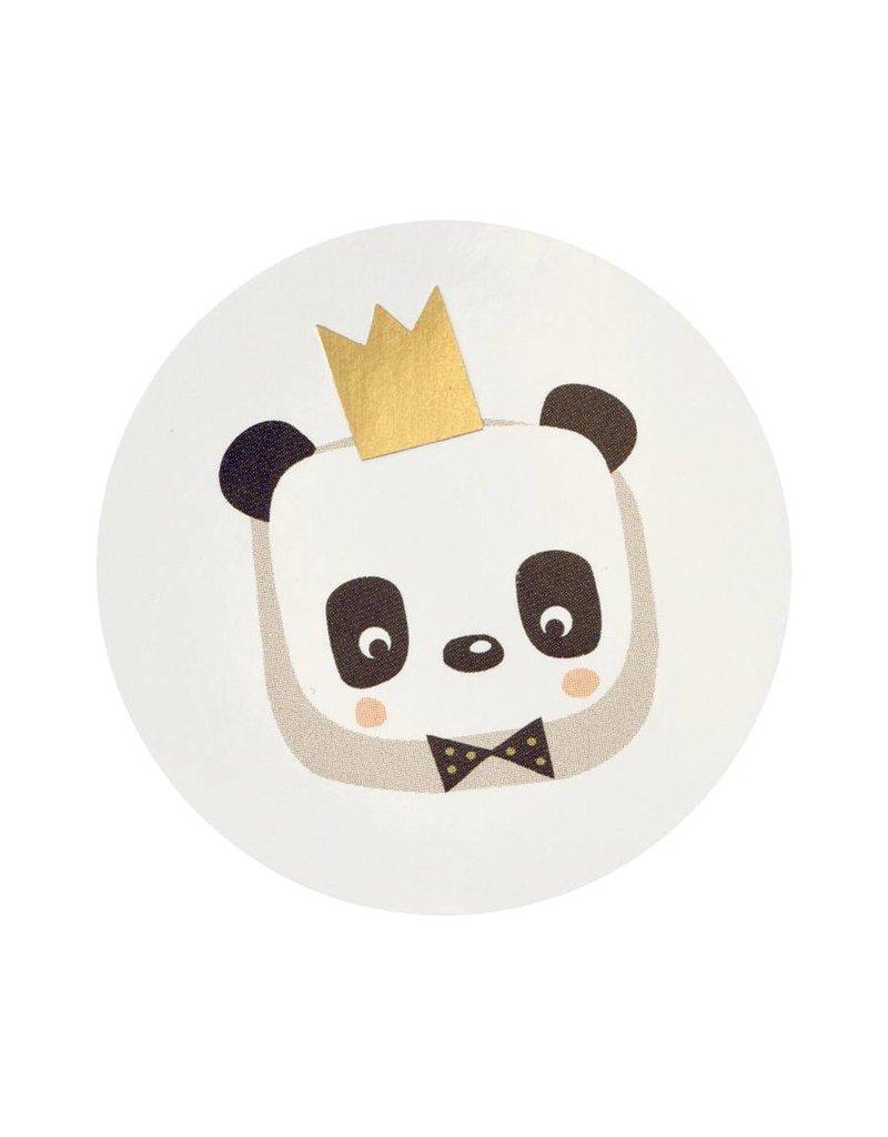 Buromac Sluitzegels-Panda met kroontje van goud per vel van 10 stuks
