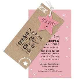 Belarto Welcome Wonder 2017 Geboortekaart met sterren en stoer labeltje - roze