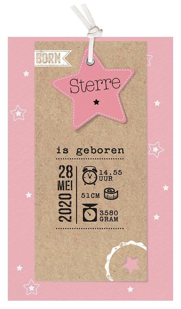 Belarto Welcome Wonder 2017 Geboortekaart met sterren en stoer labeltje - roze (717035R)