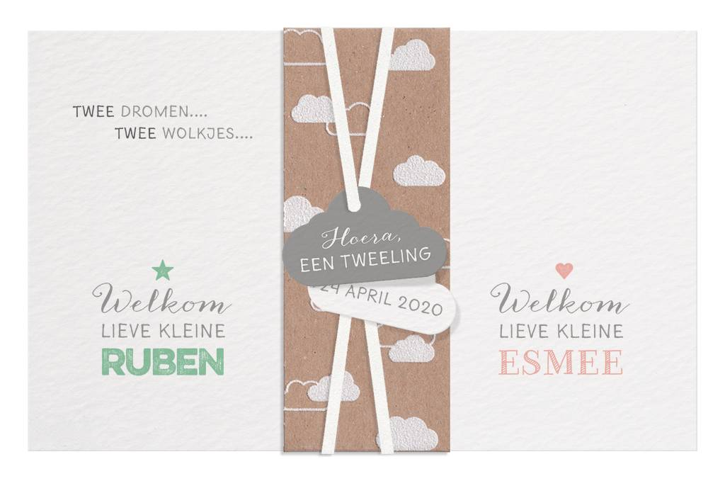 Belarto Welcome Wonder 2017 Geboortekaart met wikkel, label en wolkje (717026)
