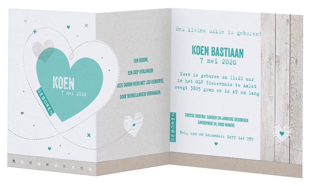 Belarto Welcome Wonder 2017 Geboortekaart in de vorm van stoere uittrekkaart met steigerhout en groene hartjes (717031)