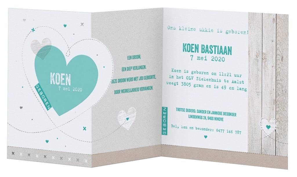 Belarto Welcome Wonder Geboortekaart in de vorm van stoere uittrekkaart met steigerhout en groene hartjes (717031)
