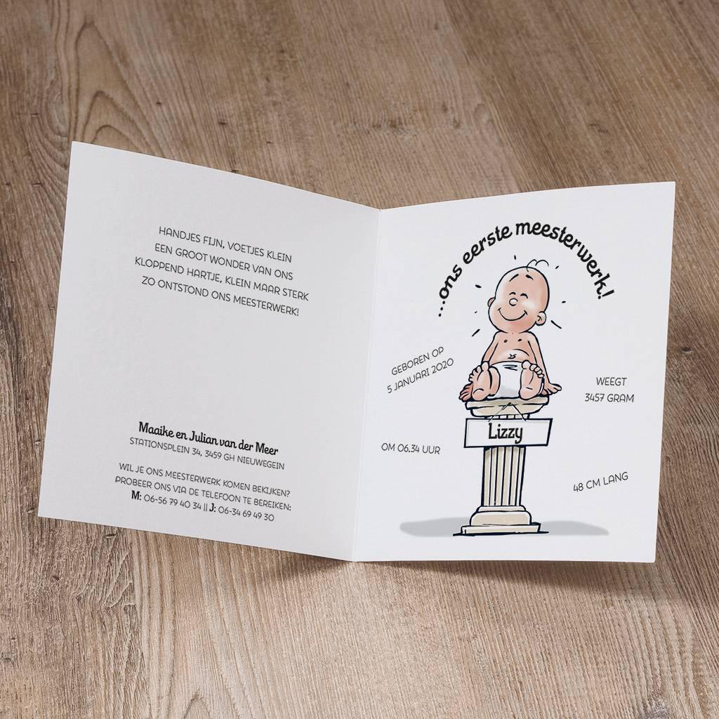 Belarto Welcome Wonder Geboortekaart in cartoonstijl met grappige illustratie van ooievaar (717055)